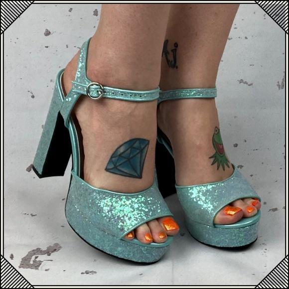 a0abf6eb571 Glitter Platform Heels   Mint Green Chunky Heel
